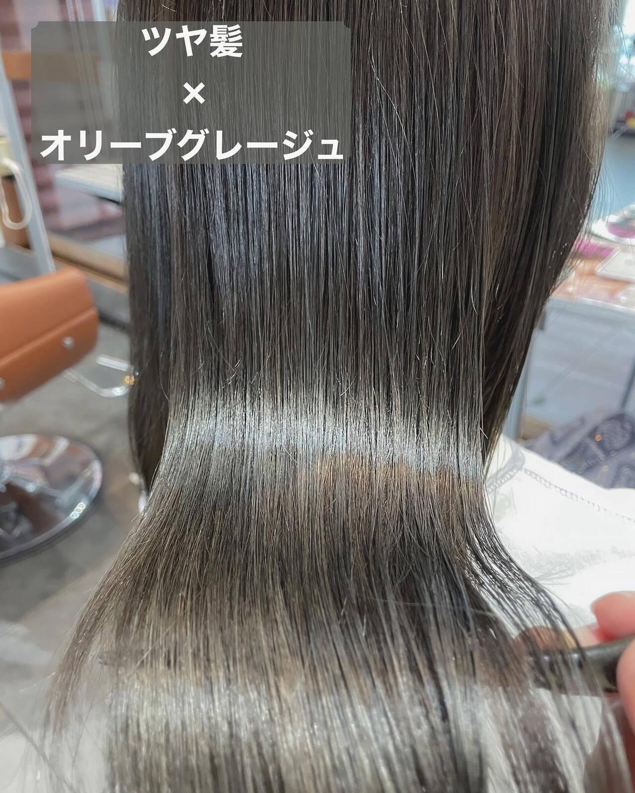 髪質改善トリートメント オリーブグレージュ オリーブベージュ オリーブヘアスタイルや髪型の写真・画像