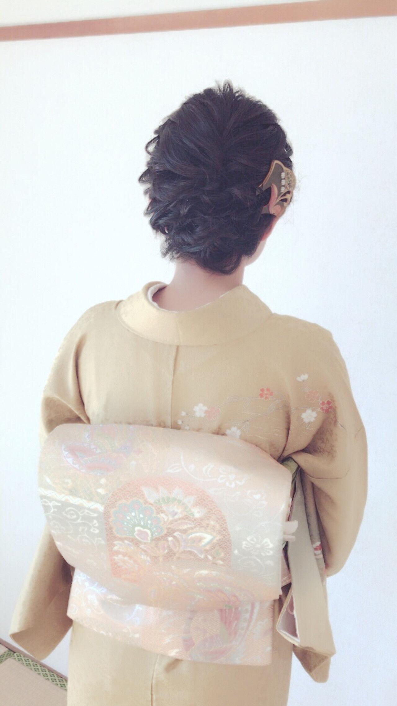 結婚式 着物 ミディアム エレガントヘアスタイルや髪型の写真・画像