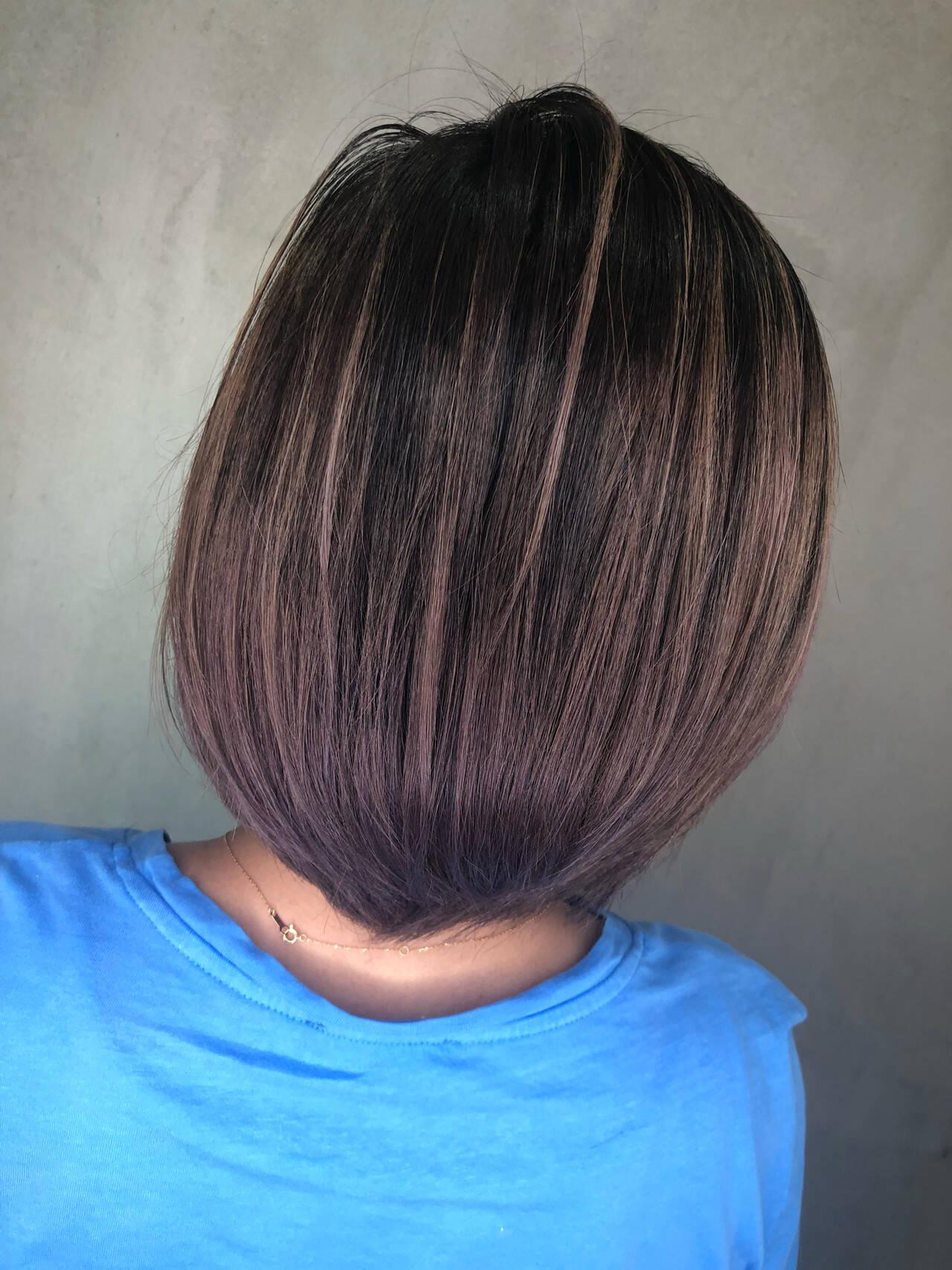 ボブ バレイヤージュ ハイライト グラデーションカラーヘアスタイルや髪型の写真・画像