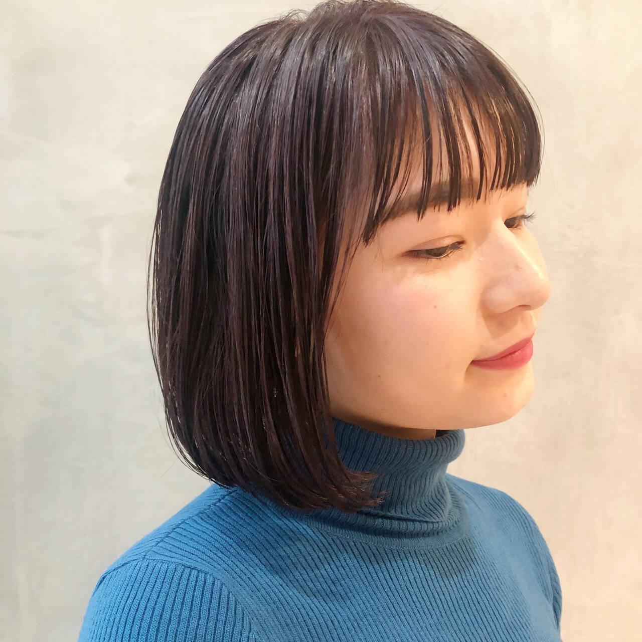 ボブ パープルアッシュ ショートボブ ナチュラルヘアスタイルや髪型の写真・画像