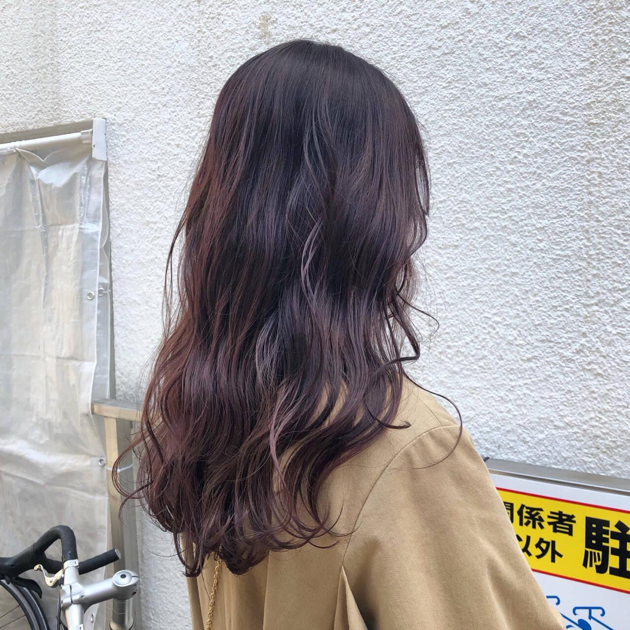 ガーリー ウェーブ アンニュイ ラベンダーピンクヘアスタイルや髪型の写真・画像