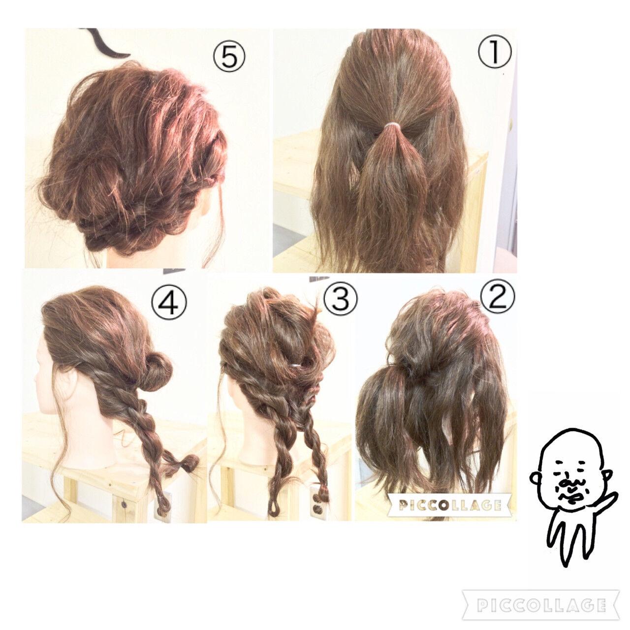 ねじり ヘアアレンジ セミロング ギブソンタックヘアスタイルや髪型の写真・画像