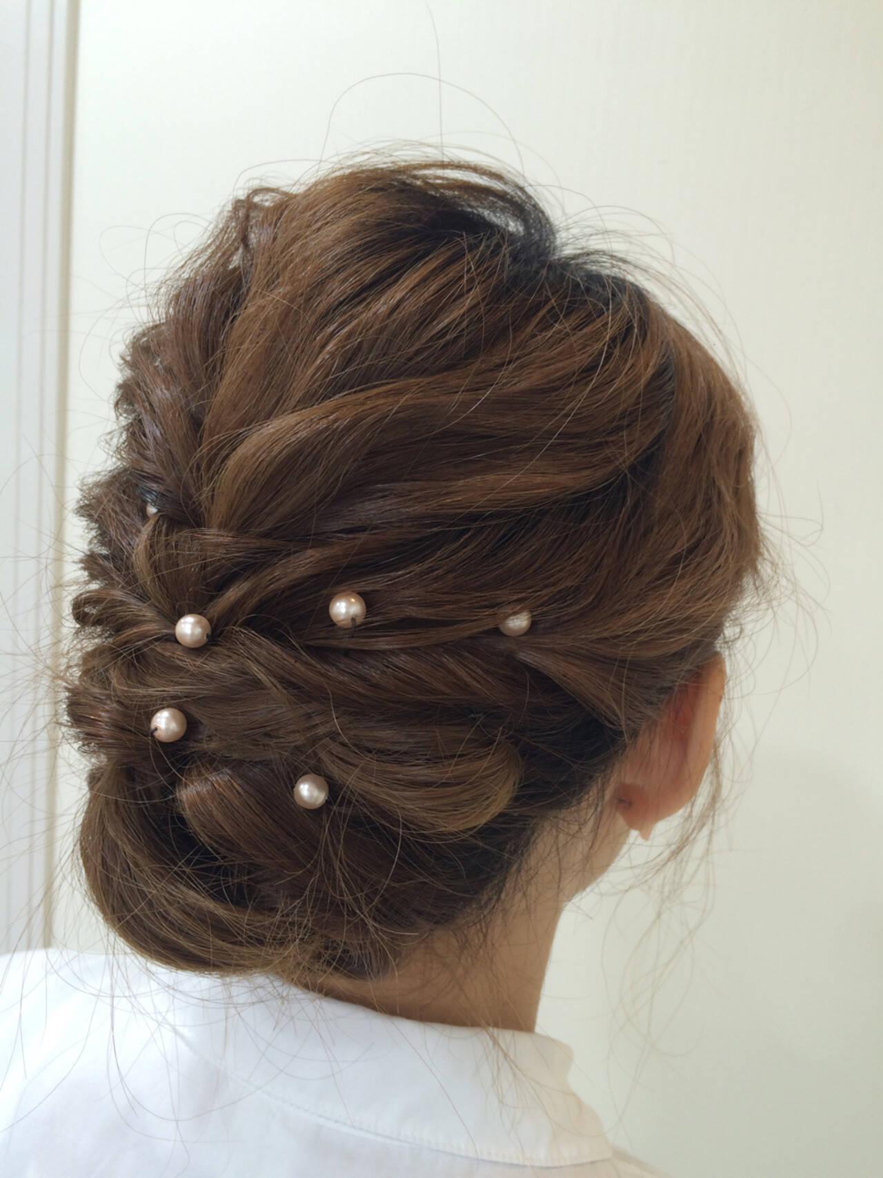 大人かわいい セミロング ヘアアレンジ 結婚式ヘアスタイルや髪型の写真・画像