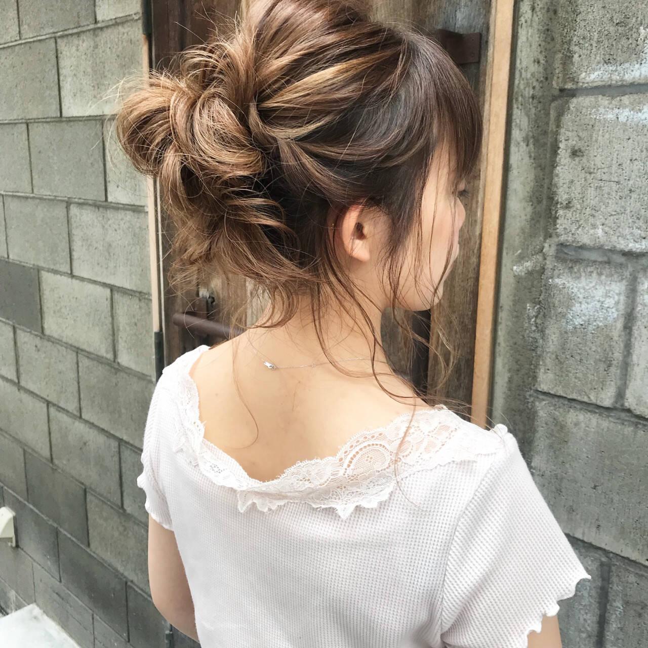 お団子 ヘアアレンジ セミロング 結婚式ヘアスタイルや髪型の写真・画像