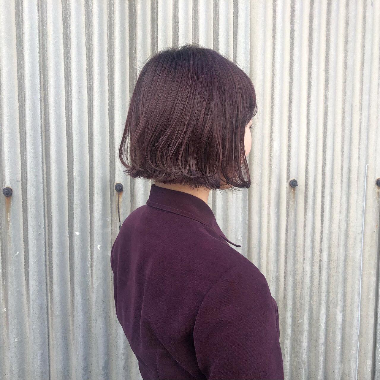 ボルドー ボブ ガーリー パープルヘアスタイルや髪型の写真・画像