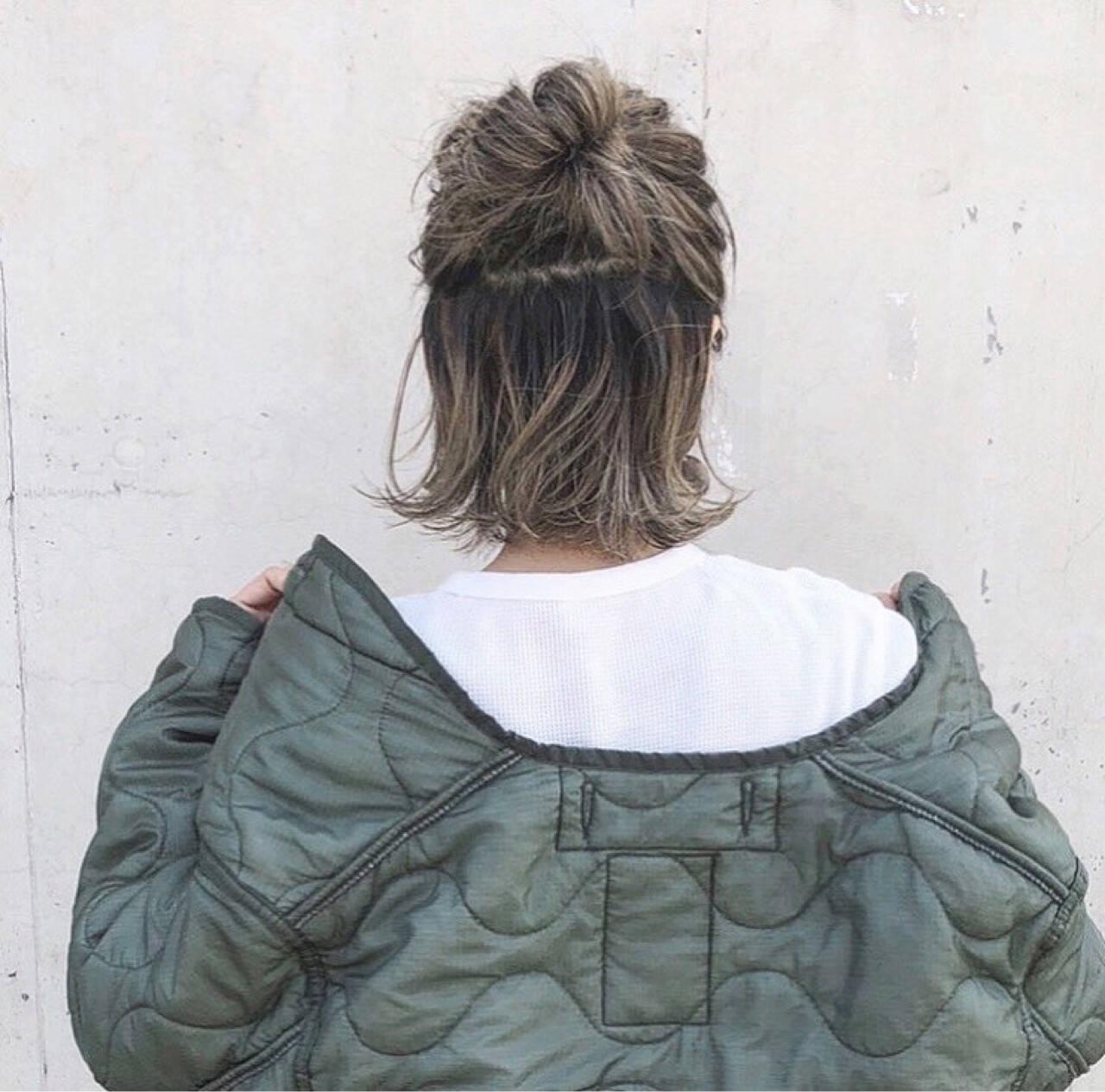 ストリート ハイライト 外国人風 ロブヘアスタイルや髪型の写真・画像