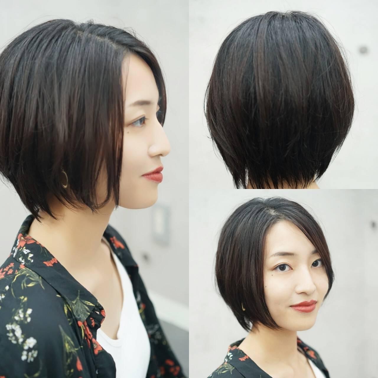 ショート 大人女子 ミニボブ ハンサムショートヘアスタイルや髪型の写真・画像