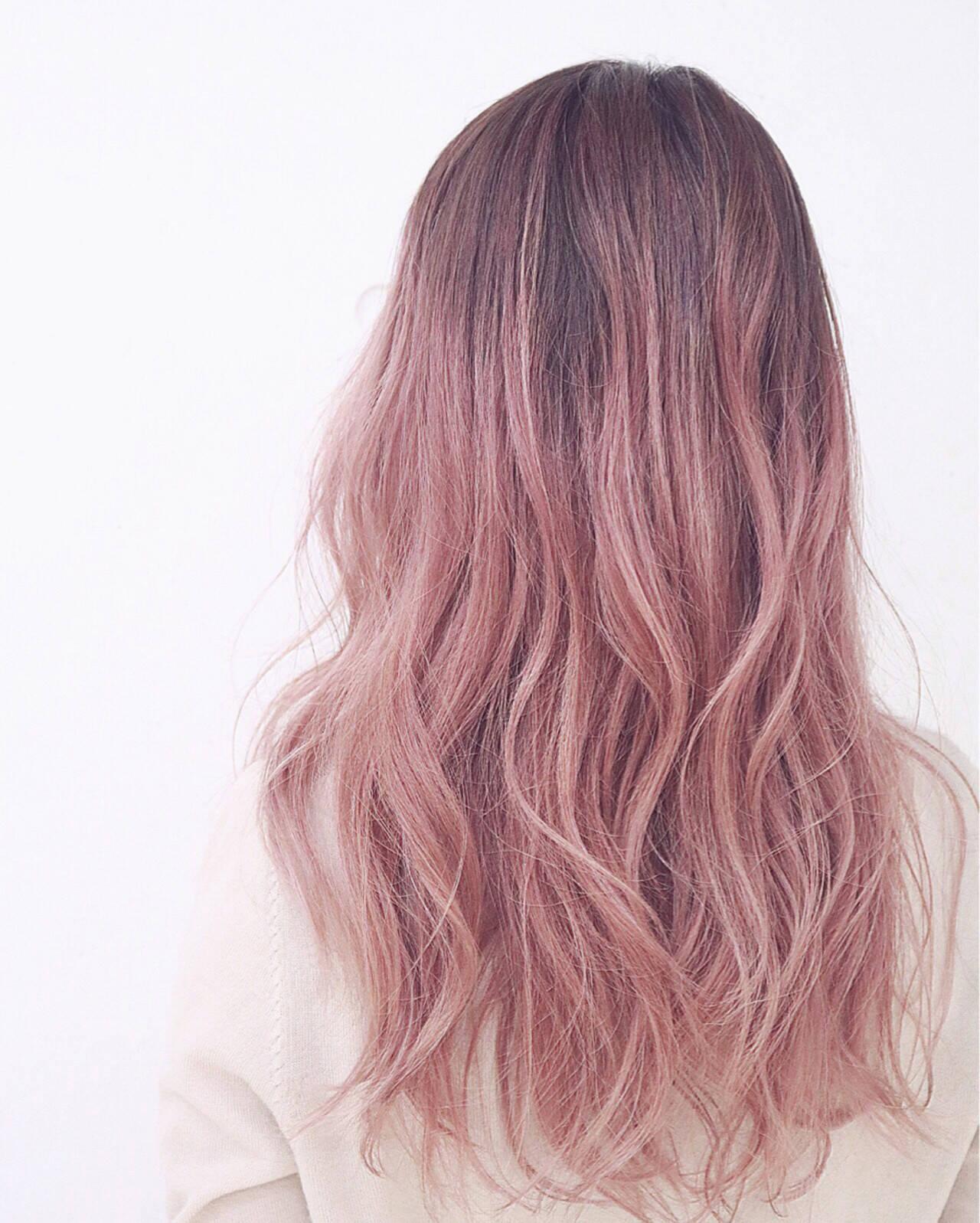 ストリート ピンク 外国人風 ミディアムヘアスタイルや髪型の写真・画像