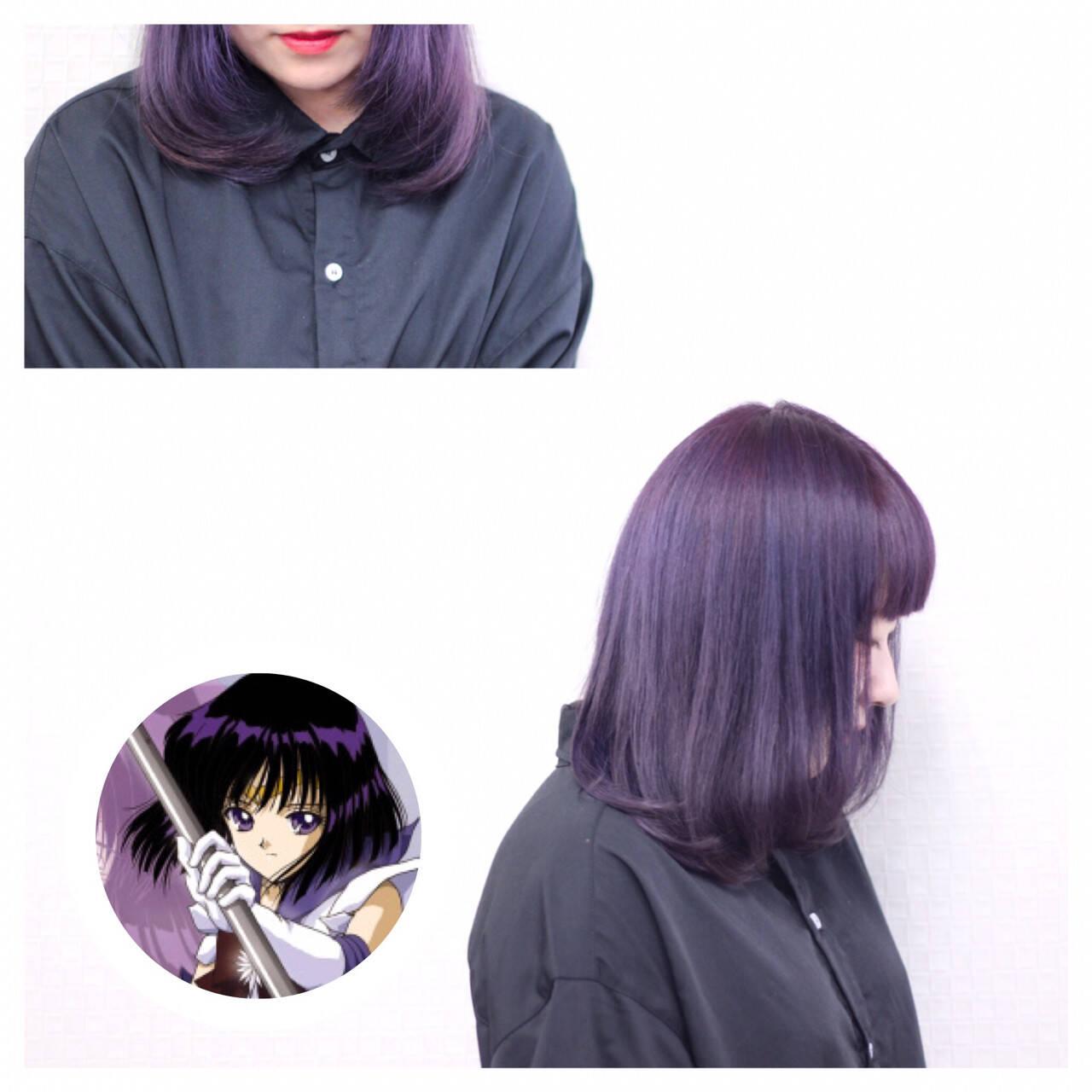 個性的 モード ショート パープルヘアスタイルや髪型の写真・画像