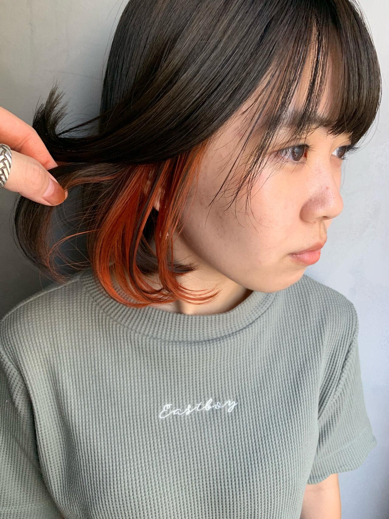 ナチュラル ボブ インナーカラー インナーカラーボブヘアスタイルや髪型の写真・画像