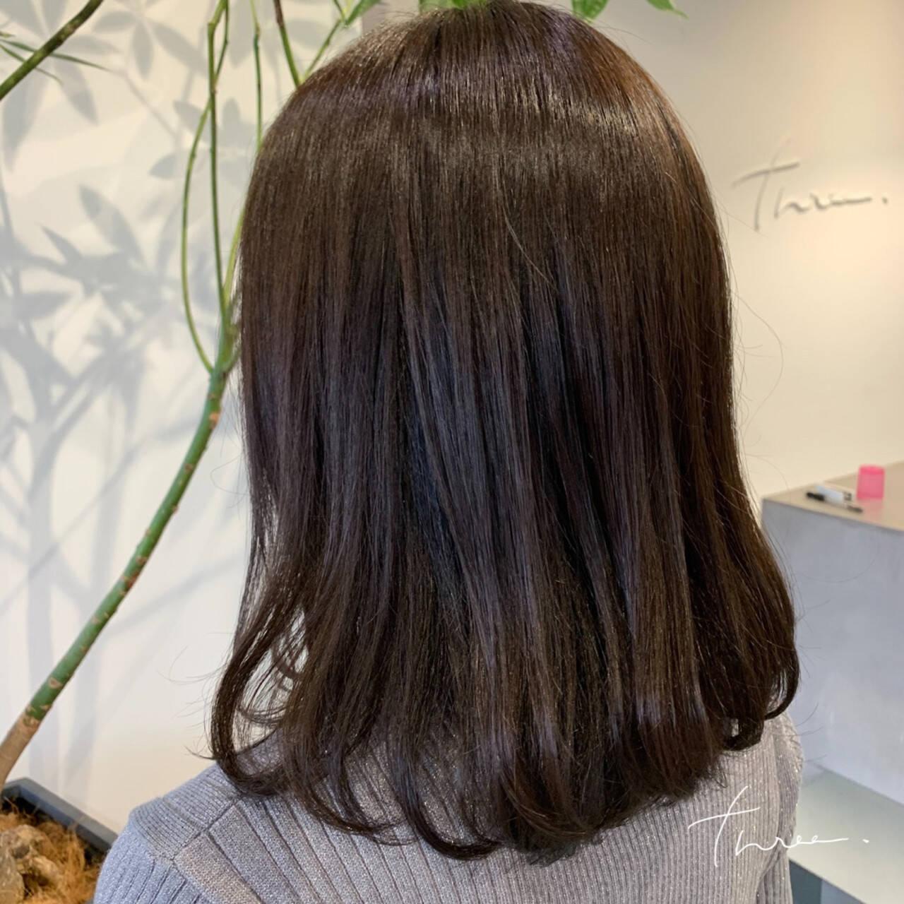 デジタルパーマ ワンカールパーマ ナチュラル ミディアムヘアスタイルや髪型の写真・画像