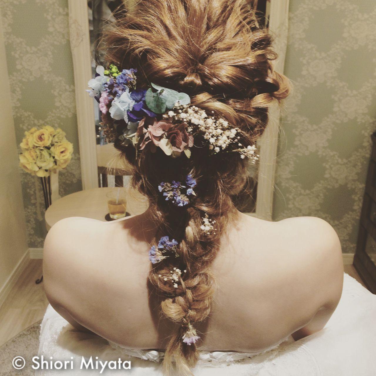 ロング ゆるふわ ヘアアレンジ 花嫁ヘアスタイルや髪型の写真・画像