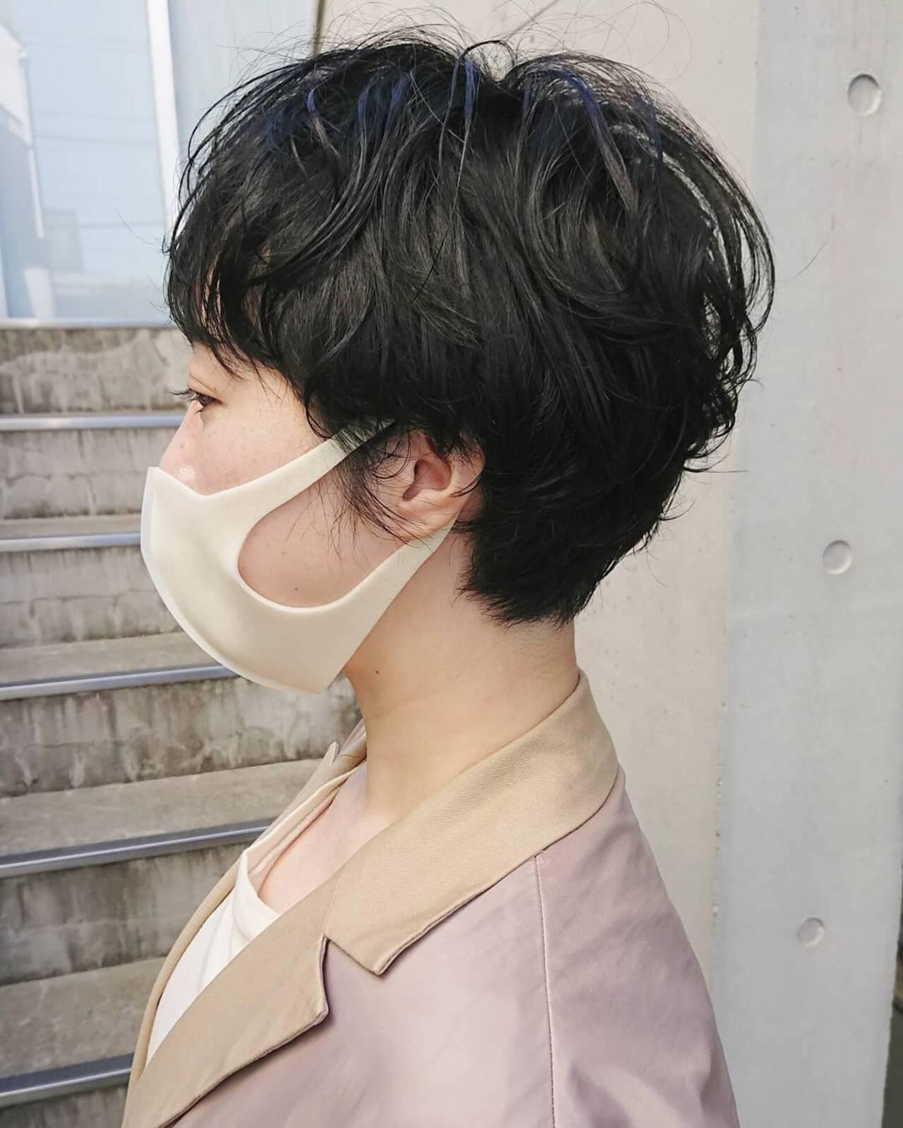 前髪 ナチュラル ベリーショート パーマヘアスタイルや髪型の写真・画像