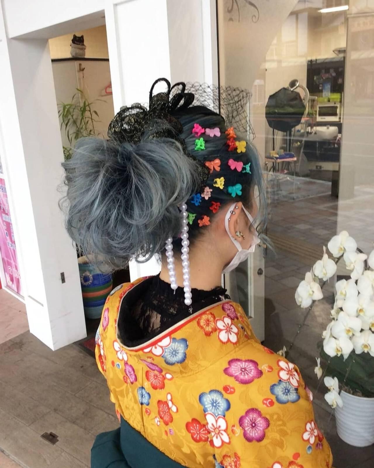 ヘアアレンジ 簡単ヘアアレンジ ガーリー ミディアムヘアスタイルや髪型の写真・画像