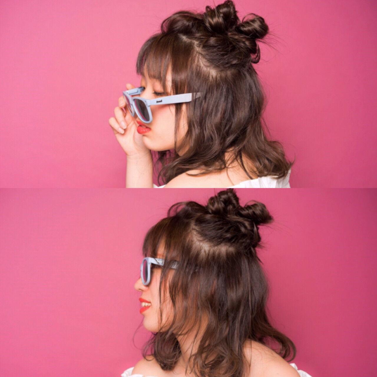 お団子 ハーフアップ 簡単ヘアアレンジ ヘアアレンジヘアスタイルや髪型の写真・画像