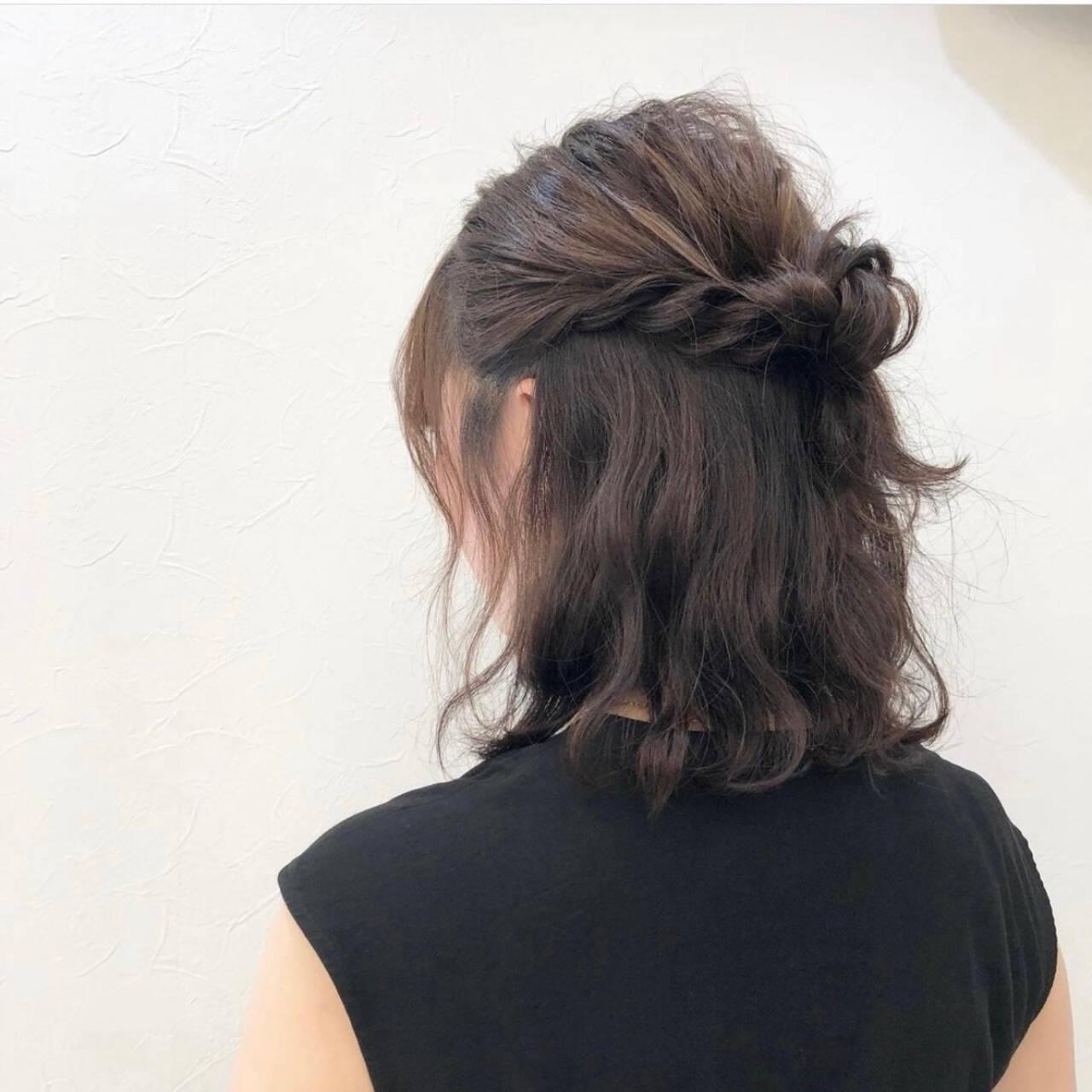 ヘアアレンジ ボブ フェミニン 結婚式ヘアアレンジヘアスタイルや髪型の写真・画像