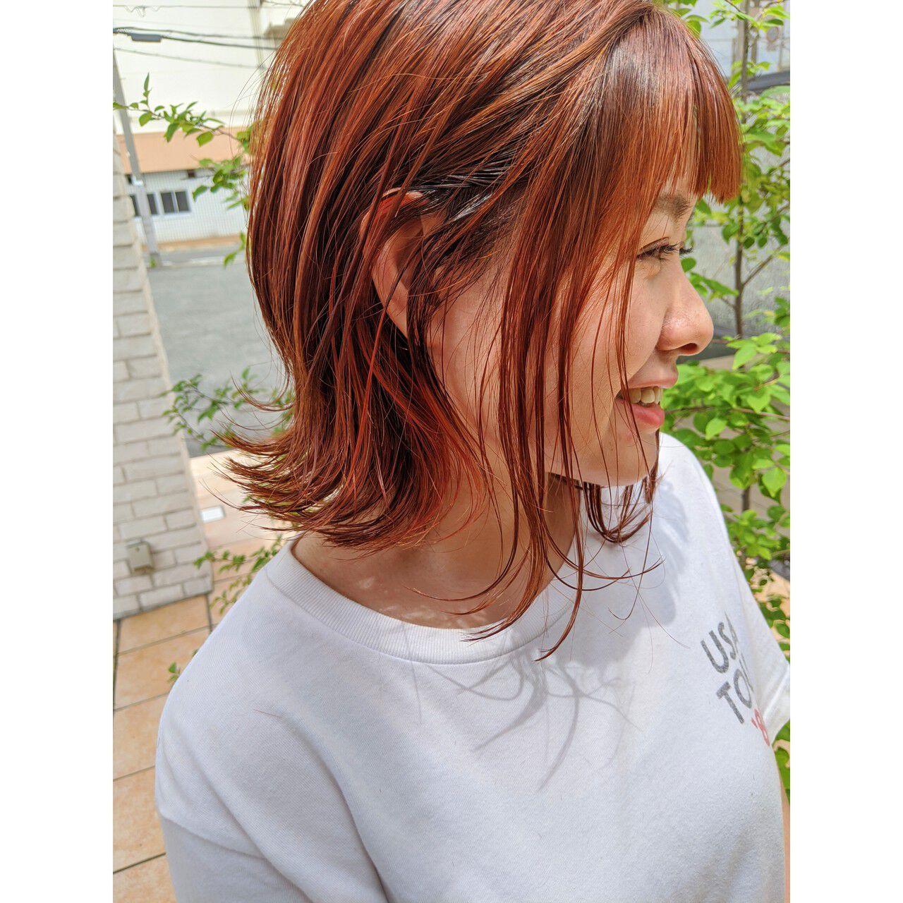 ミニボブ ナチュラル インナーカラー ショートボブヘアスタイルや髪型の写真・画像