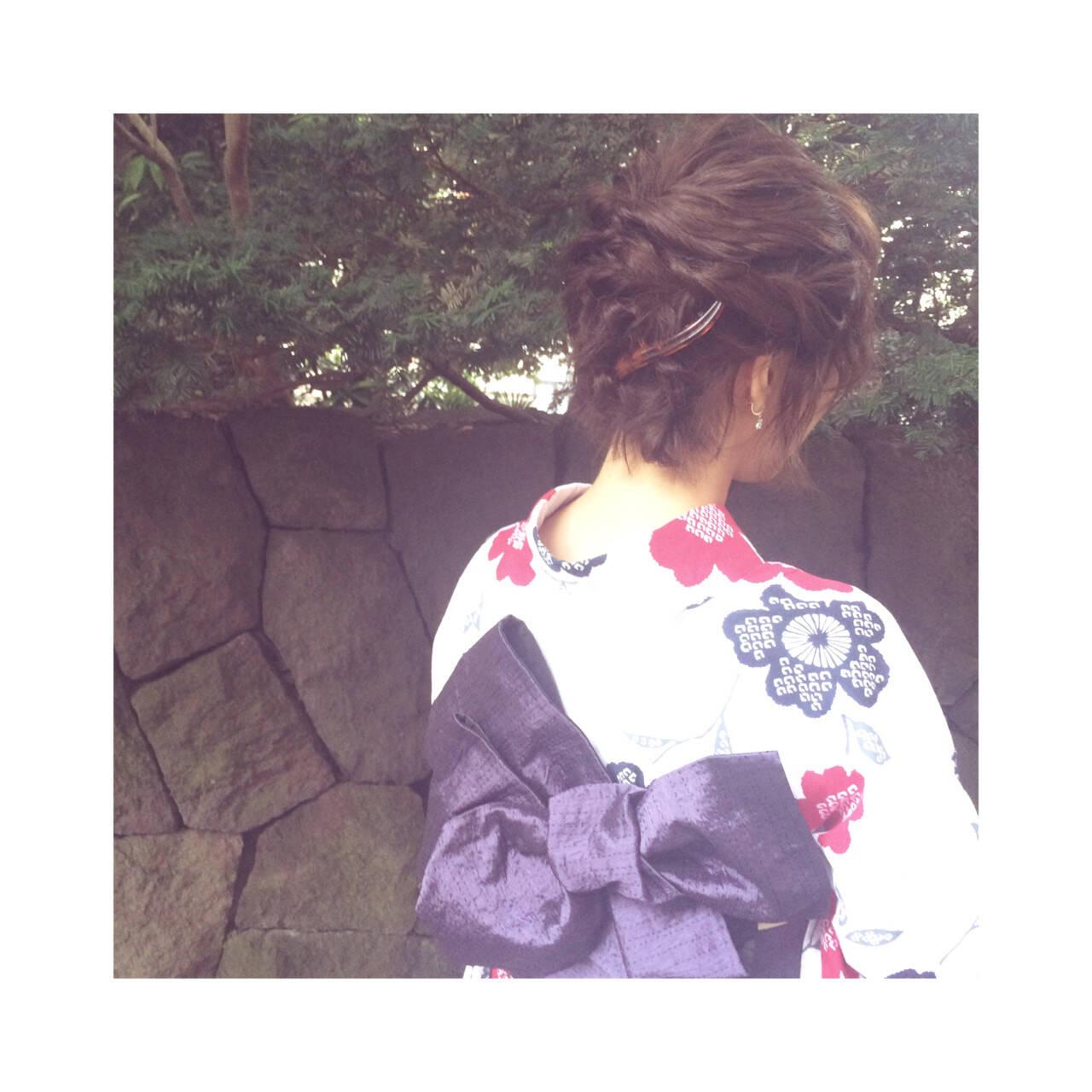 夏 ボブ 花火大会 お祭りヘアスタイルや髪型の写真・画像