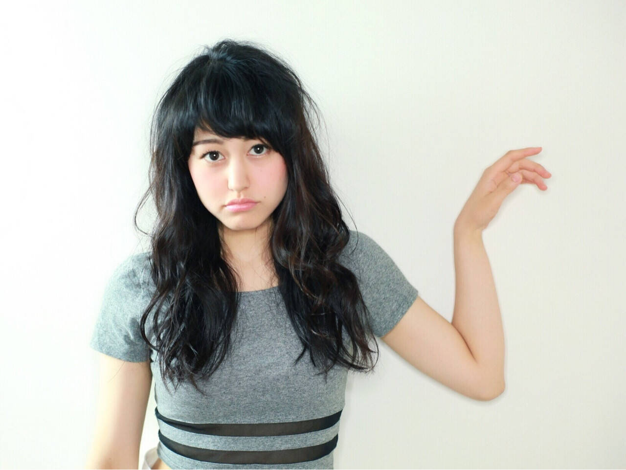 黒髪 ストリート ロング 前髪ありヘアスタイルや髪型の写真・画像