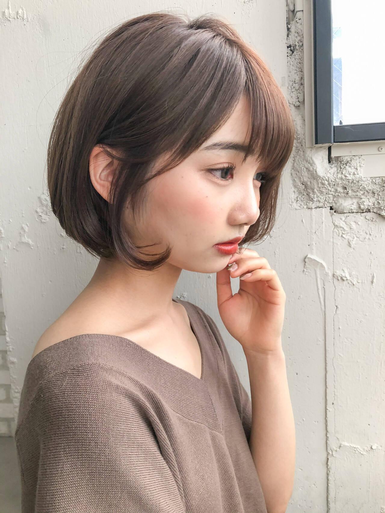 デジタルパーマ ナチュラル 大人かわいい モテボブヘアスタイルや髪型の写真・画像