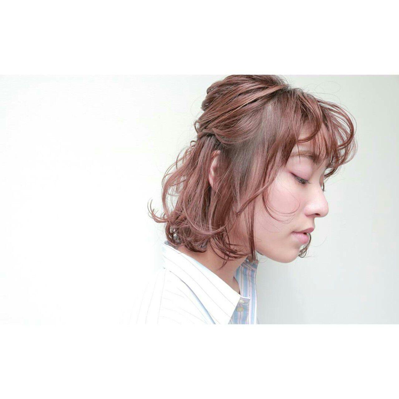 簡単ヘアアレンジ ボブ ヘアアレンジ ショートヘアスタイルや髪型の写真・画像