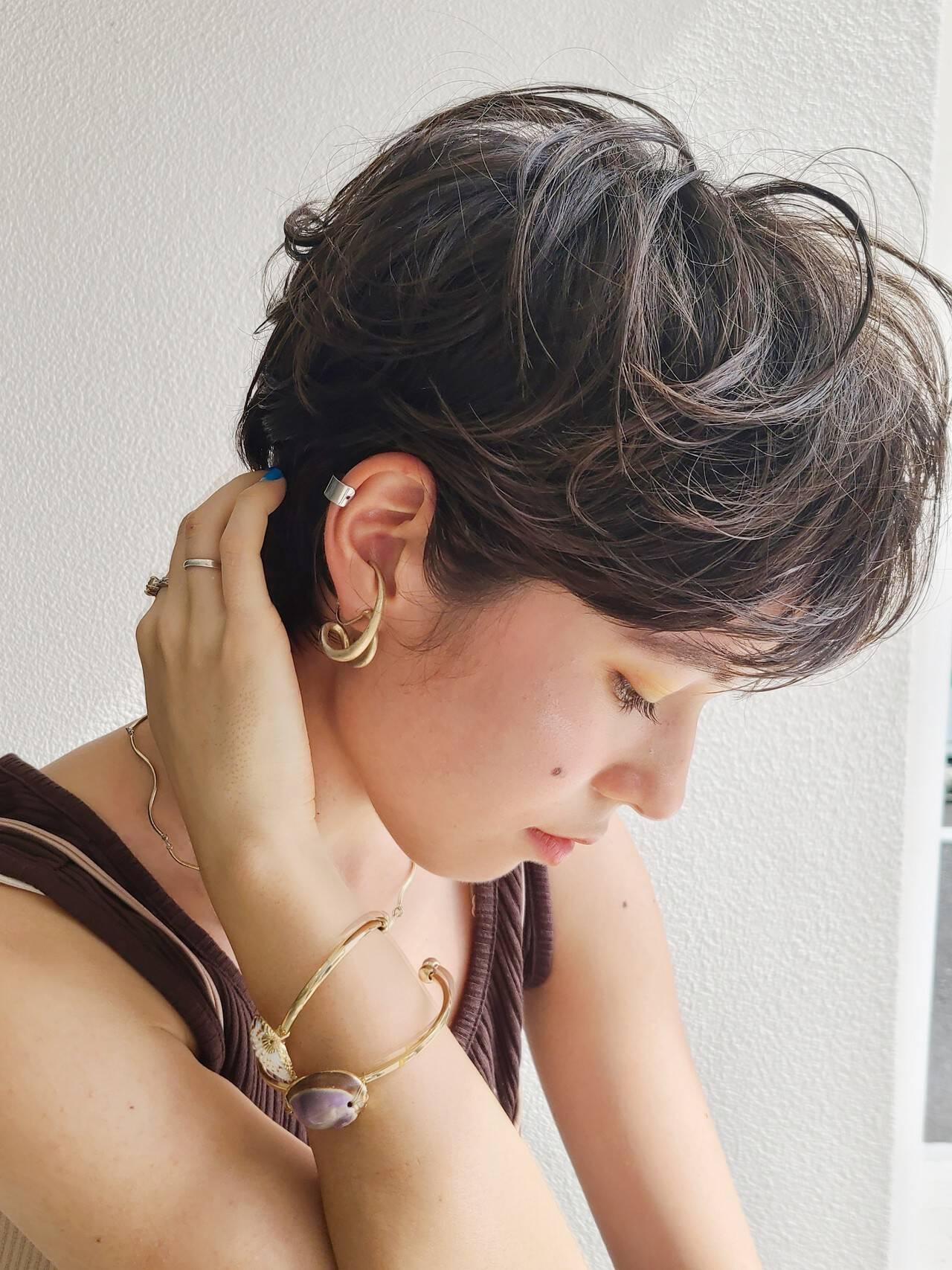 ショート ニュアンスパーマ ハンサムショート ショートボブヘアスタイルや髪型の写真・画像