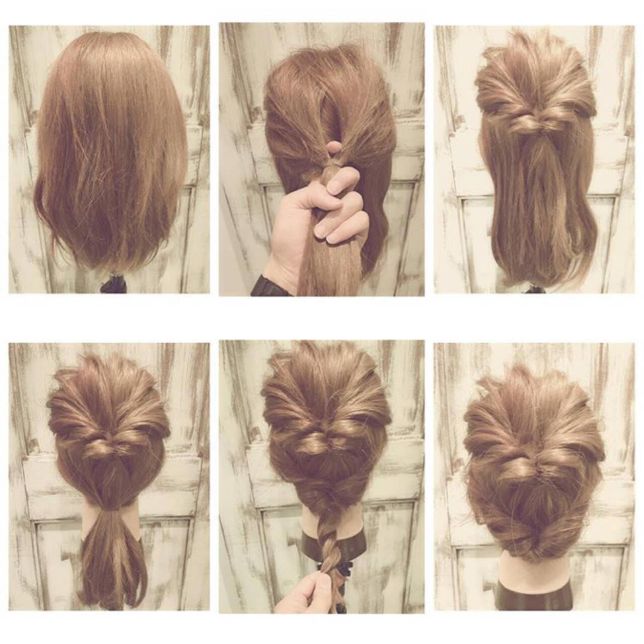 大人女子 ショート 簡単ヘアアレンジ セミロングヘアスタイルや髪型の写真・画像