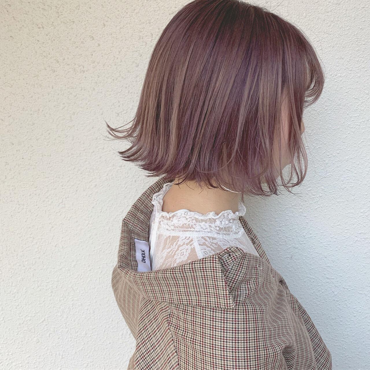 パープル ハイトーンカラー ショート ショートボブヘアスタイルや髪型の写真・画像