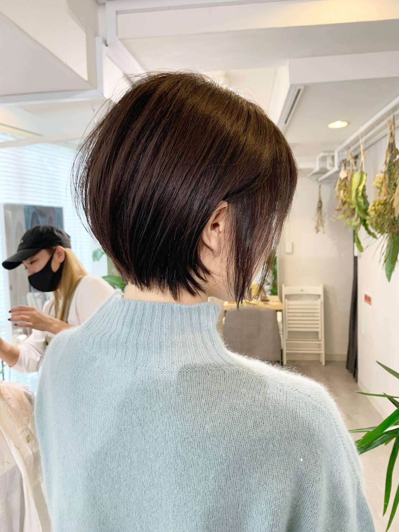 ミニボブ 切りっぱなしボブ ベリーショート ショートヘアスタイルや髪型の写真・画像