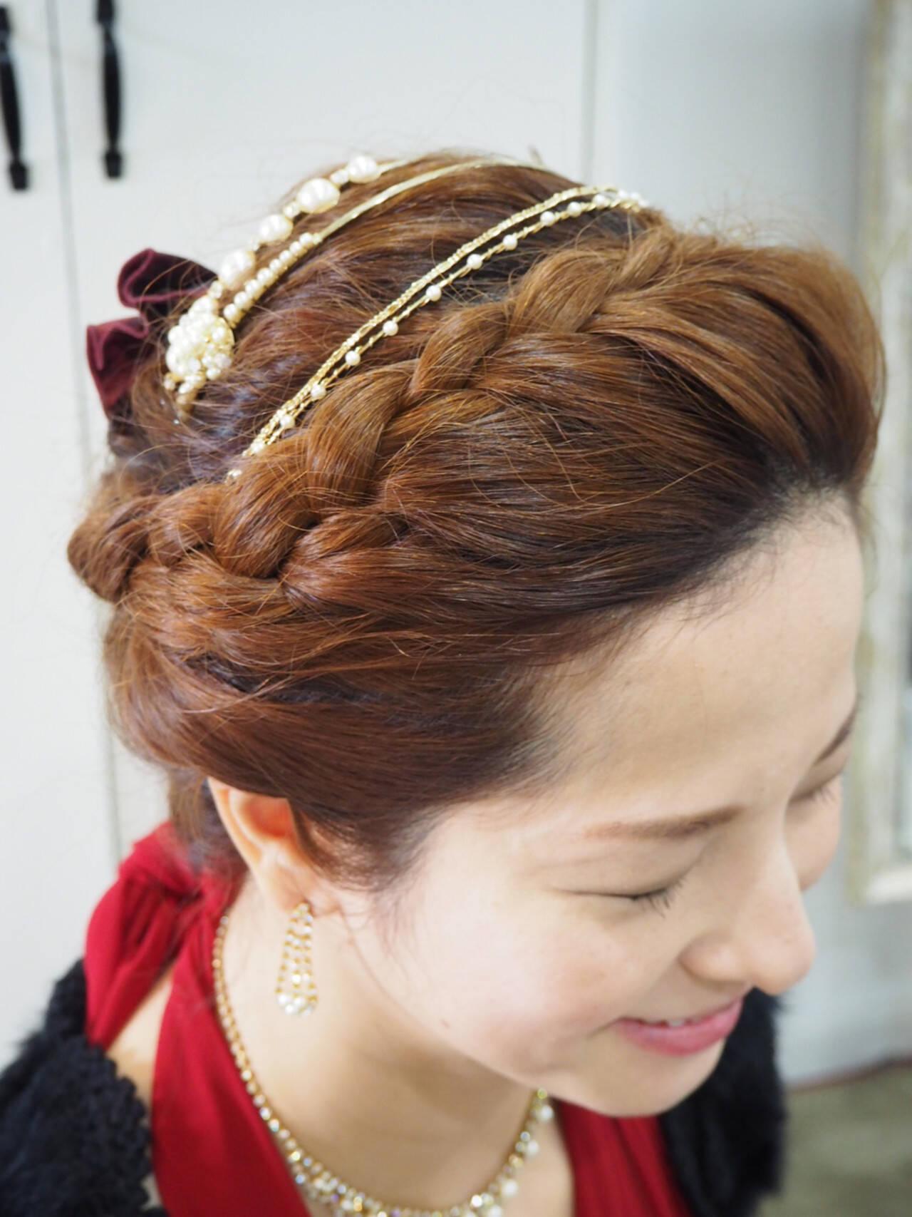 三つ編み 簡単ヘアアレンジ ショート 編み込みヘアスタイルや髪型の写真・画像