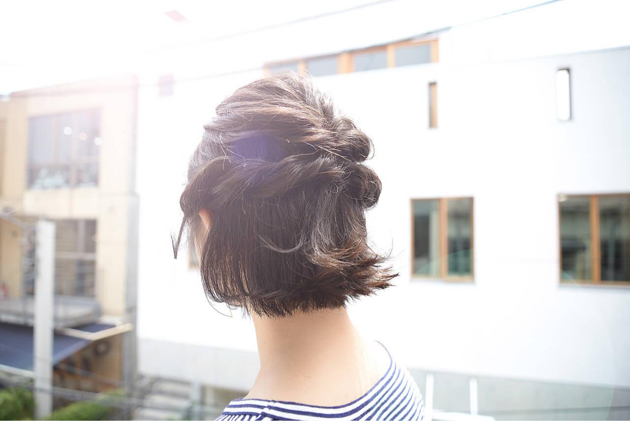 ハーフアップ ヘアアレンジ ボブ 大人かわいいヘアスタイルや髪型の写真・画像