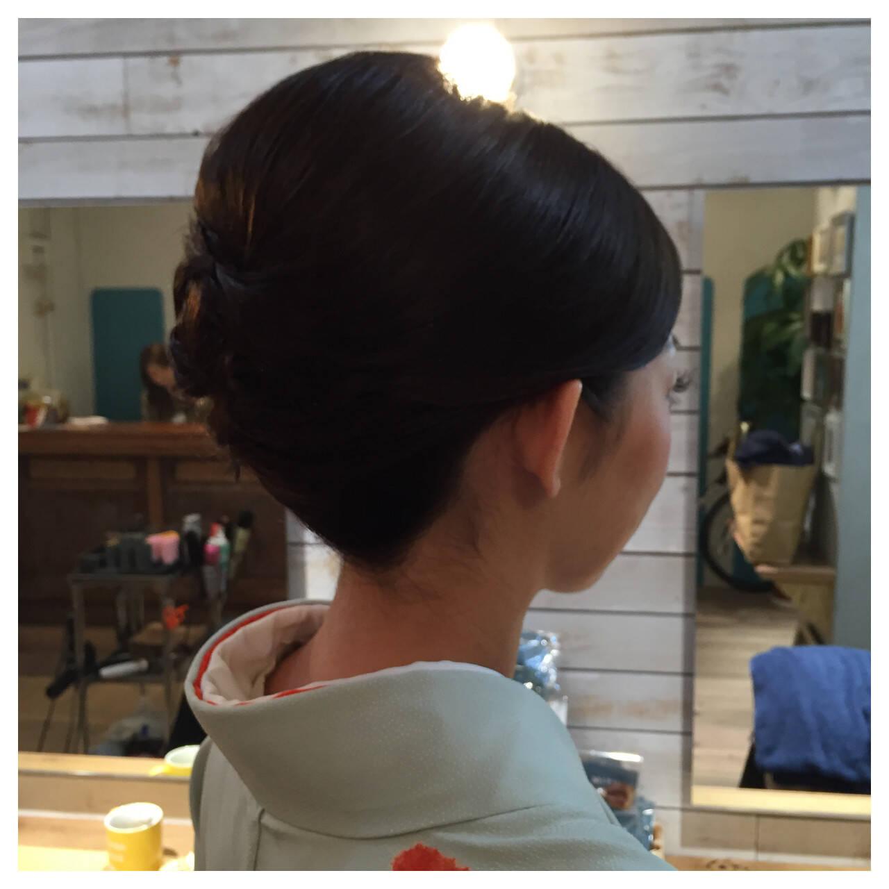 夜会巻 結婚式 ミディアム 着物ヘアスタイルや髪型の写真・画像