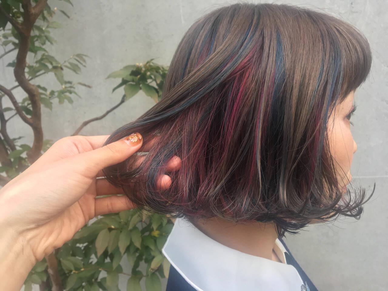 ガーリー ハイライト ボブ ダブルカラーヘアスタイルや髪型の写真・画像