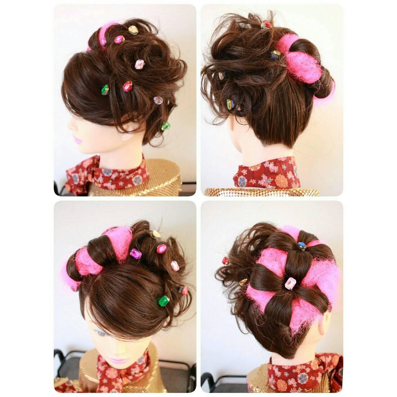 和装 和服 セミロング 着物ヘアスタイルや髪型の写真・画像