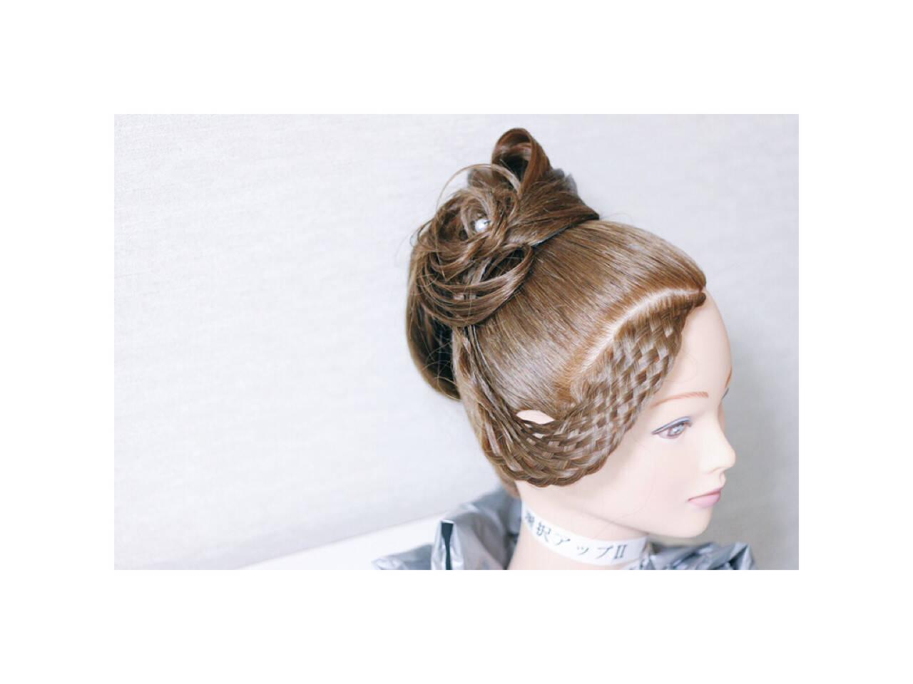 編み込み アップスタイル ヘアアレンジ ロングヘアスタイルや髪型の写真・画像