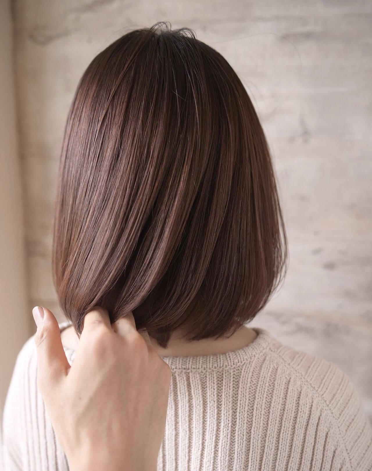 可愛い ナチュラル ボブ 艶髪ヘアスタイルや髪型の写真・画像