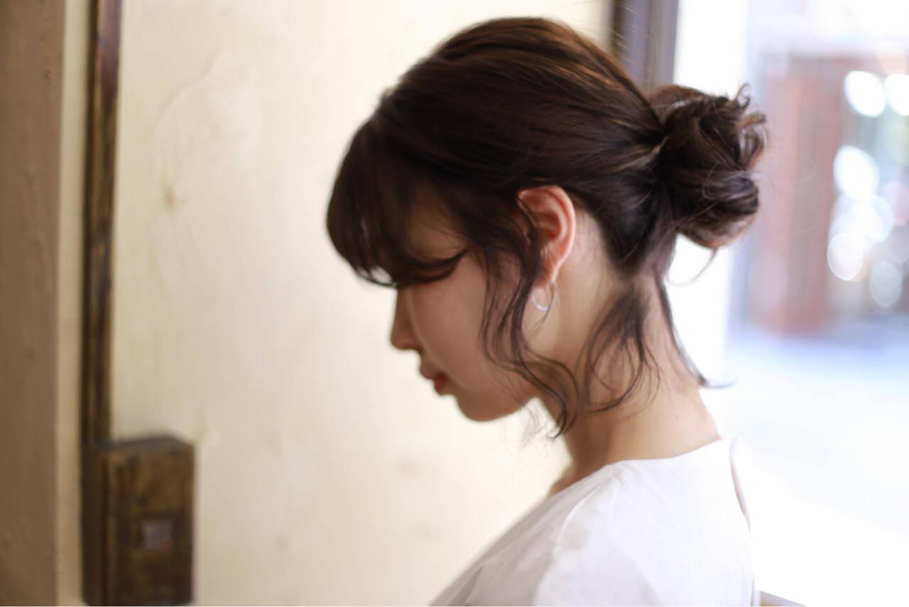 ルーズ 簡単ヘアアレンジ ボブ お団子ヘアスタイルや髪型の写真・画像