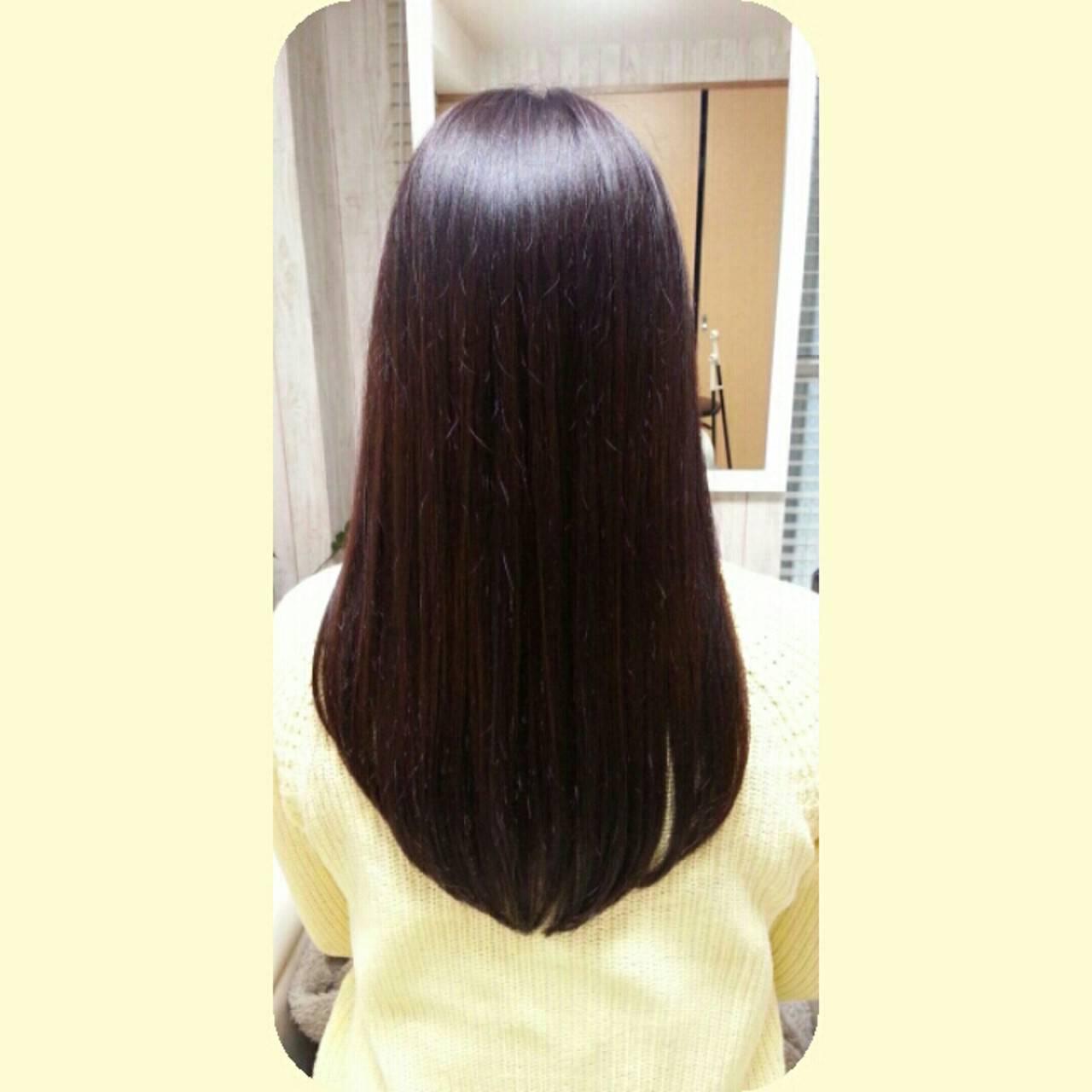 ナチュラル 暗髪 ストレート ロングヘアスタイルや髪型の写真・画像