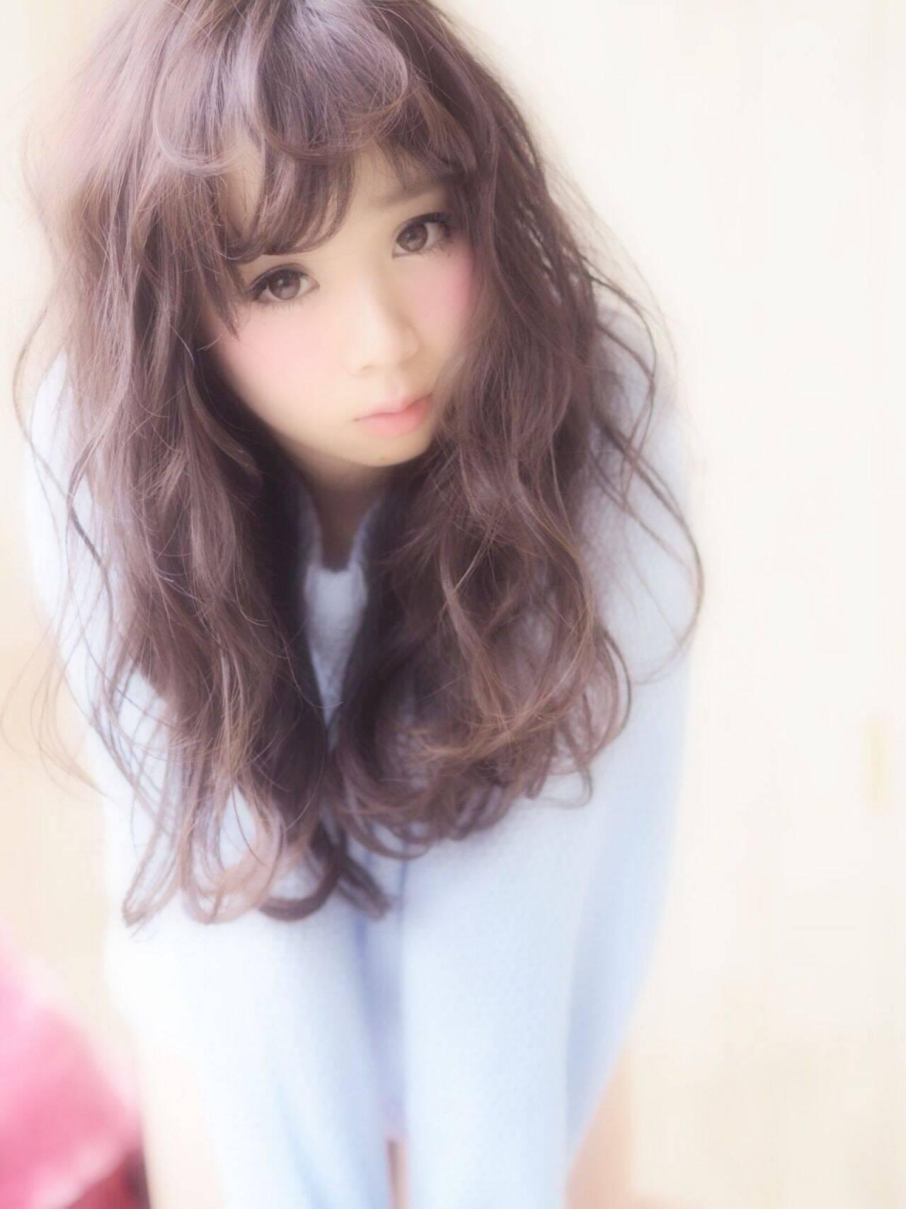 前髪パッツン 夏 ロング モテ髪ヘアスタイルや髪型の写真・画像