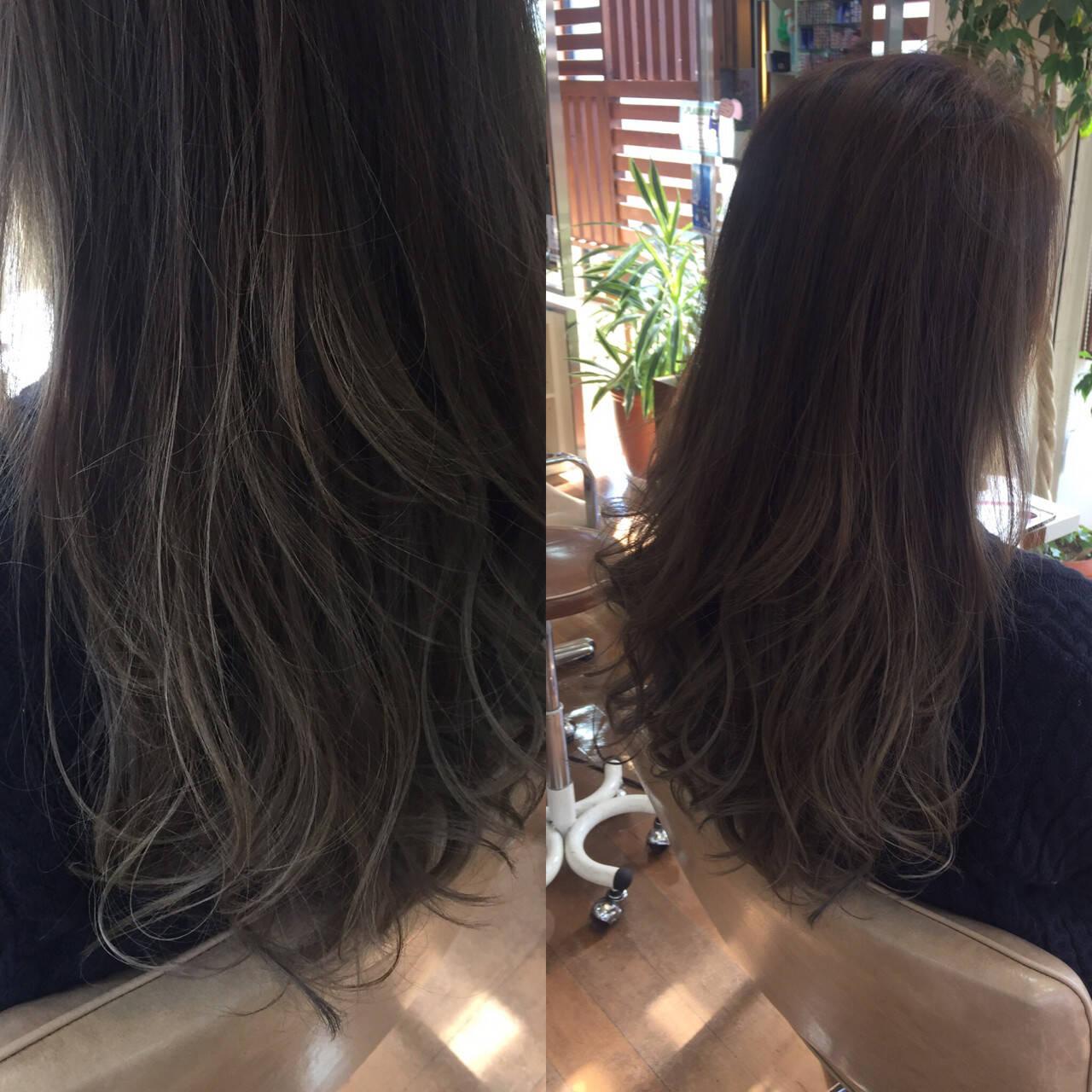 外国人風カラー コンサバ アッシュ グレージュヘアスタイルや髪型の写真・画像