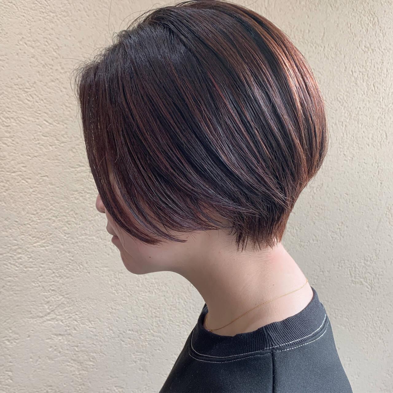 ショートヘア ピンクブラウン ナチュラル ショートヘアスタイルや髪型の写真・画像