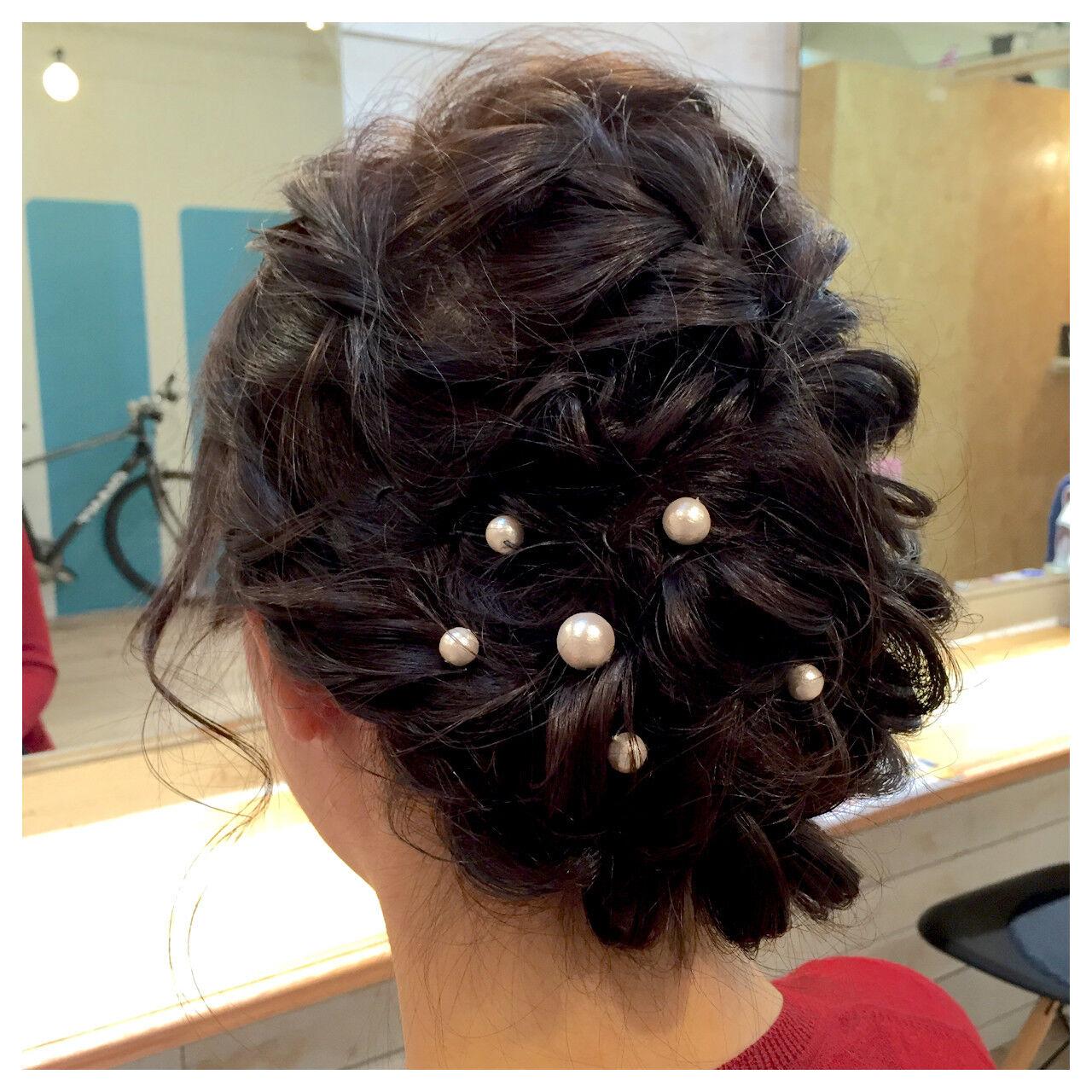 ヘアアレンジ ミディアム パーティ アップスタイルヘアスタイルや髪型の写真・画像
