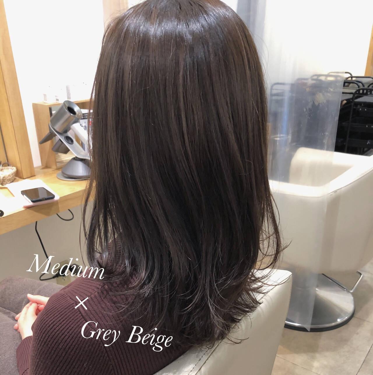 透け感アッシュ グレージュ 圧倒的透明感 ミディアムヘアスタイルや髪型の写真・画像