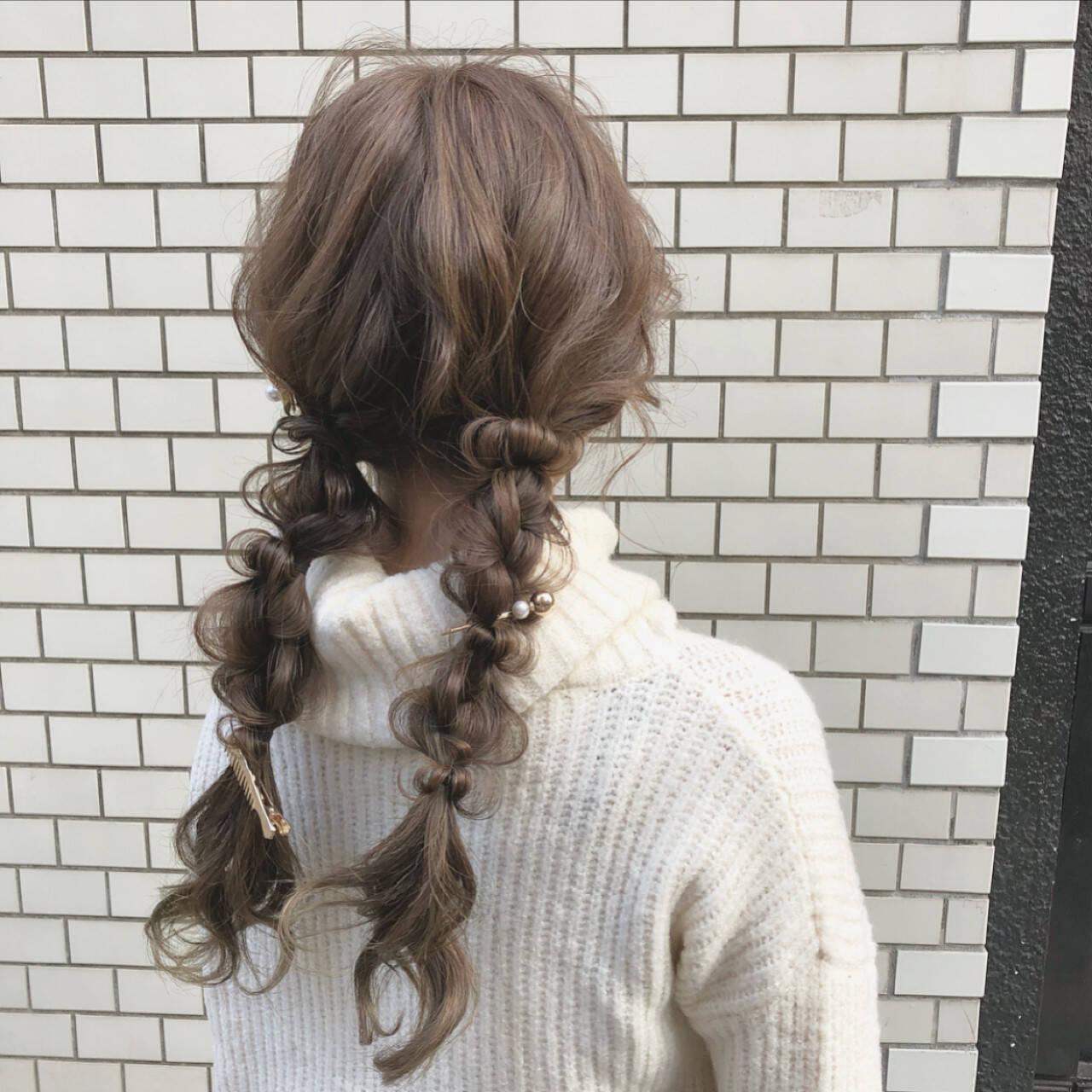 ヘアアレンジ ロング デート ツインテールヘアスタイルや髪型の写真・画像