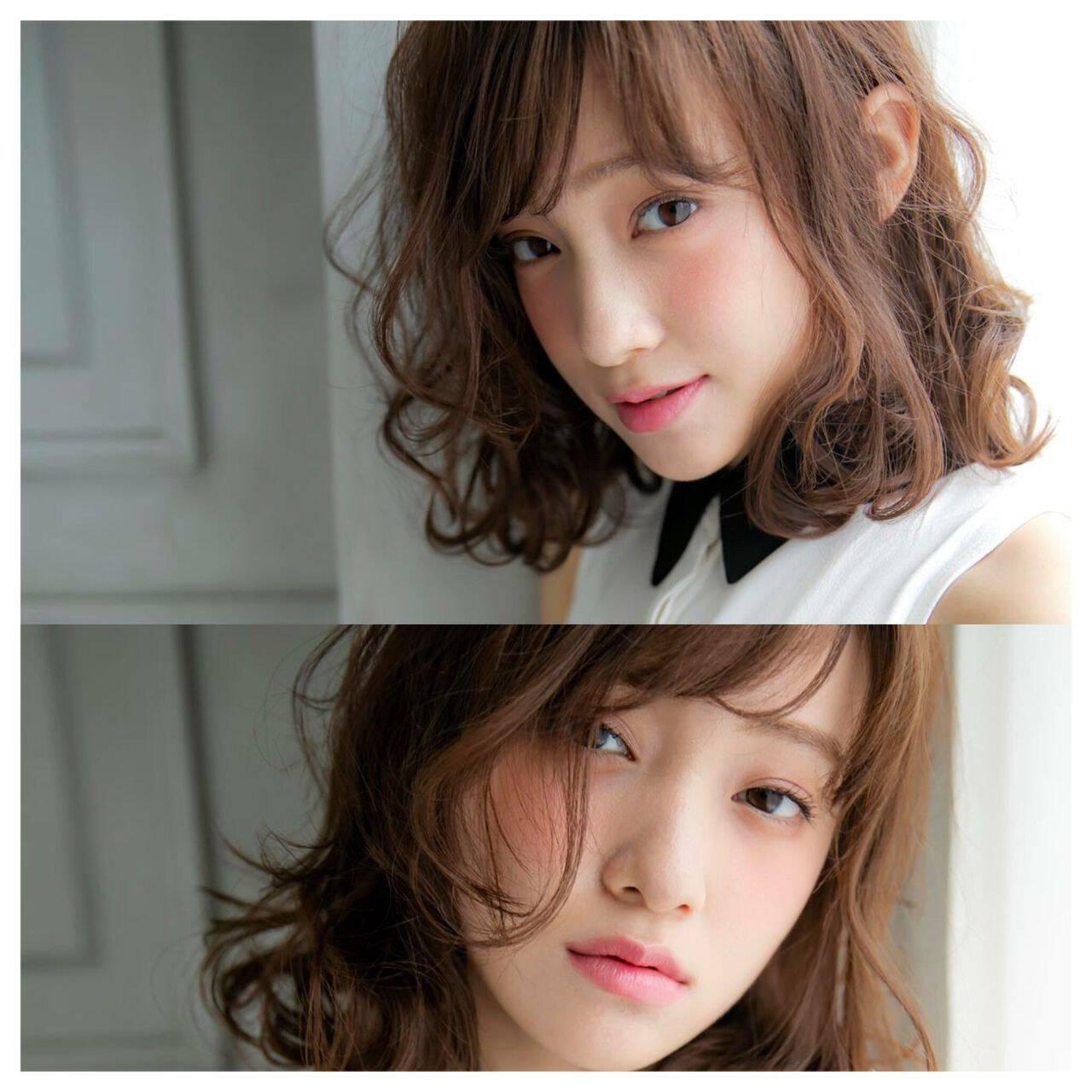 大人かわいい ミディアム ガーリー ウェーブヘアスタイルや髪型の写真・画像