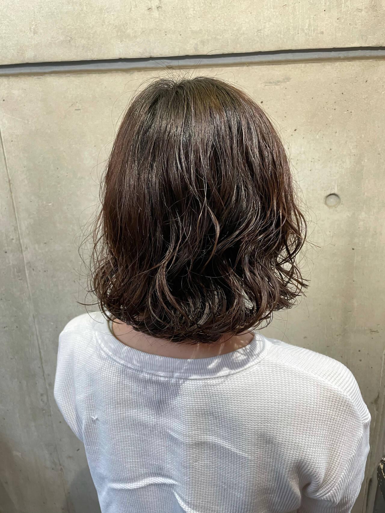 外ハネボブ デジタルパーマ  ナチュラルヘアスタイルや髪型の写真・画像