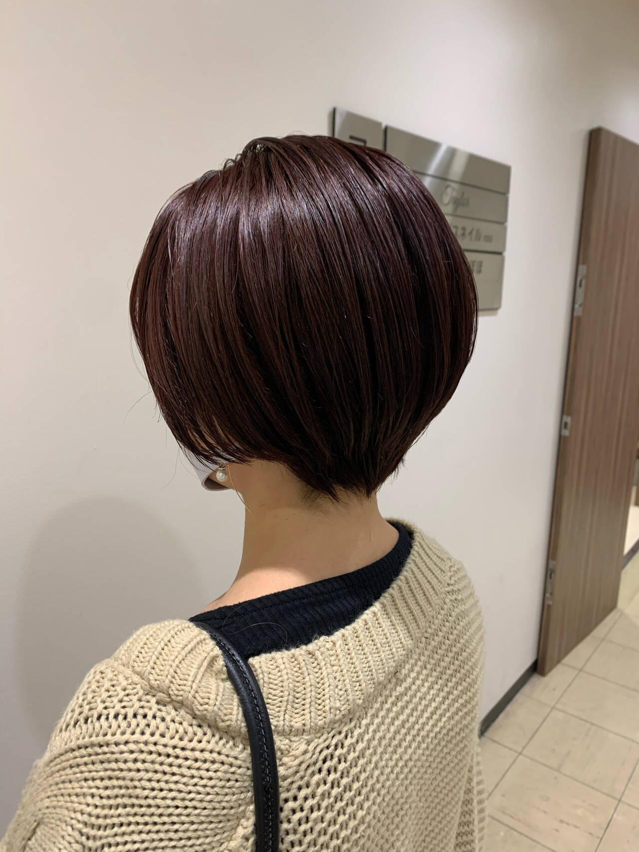 ショートヘア ピンク ミニボブ ベリーショートヘアスタイルや髪型の写真・画像