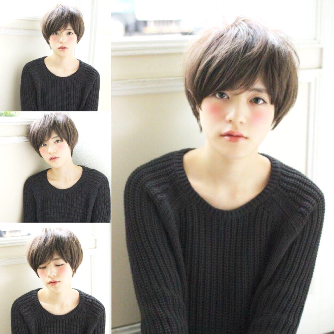小顔 ガーリー キュート アッシュグレージュヘアスタイルや髪型の写真・画像