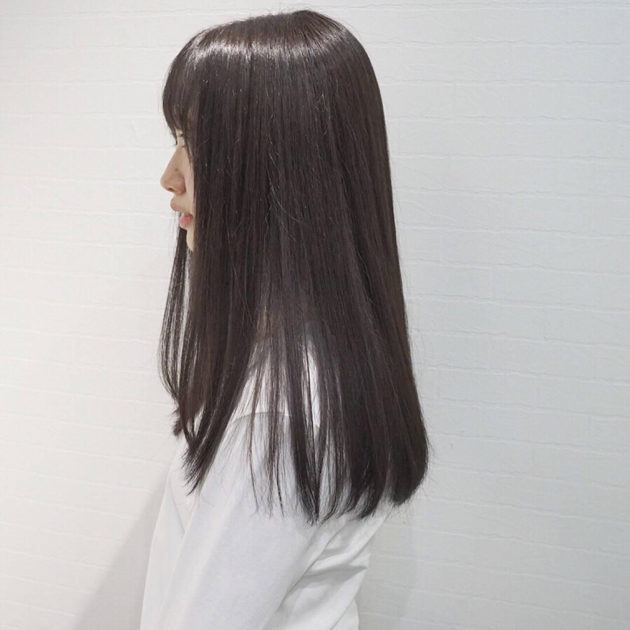 パーマ ストレート 縮毛矯正 ロングヘアスタイルや髪型の写真・画像