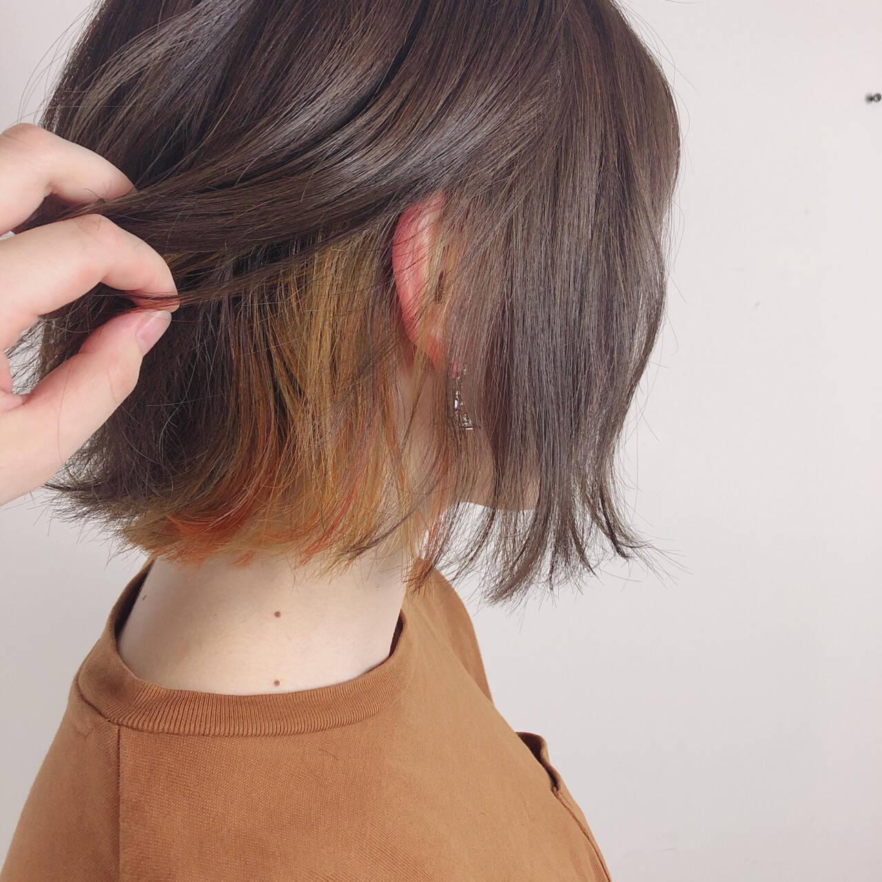 オレンジ ボブ イエロー カールヘアスタイルや髪型の写真・画像